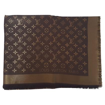 Louis Vuitton Monogram glansdoek in Brown / Gold
