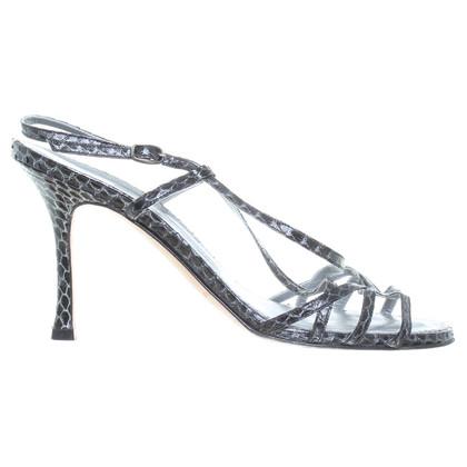 Manolo Blahnik Grigio sandali in pelle di serpente