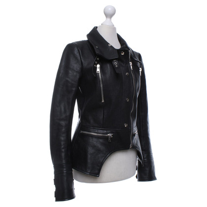 Alexander McQueen Leather biker jacket in black