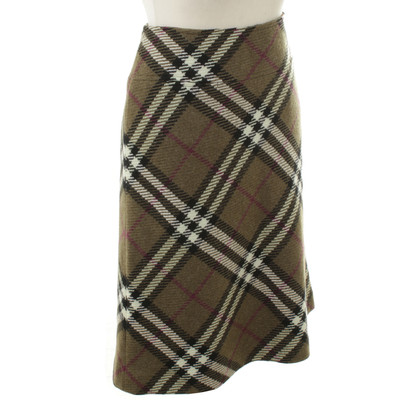 Burberry The check pattern wool skirt