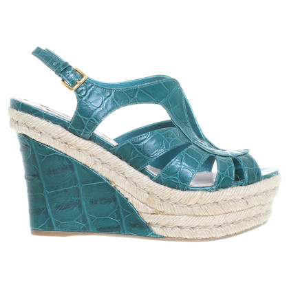 Miu Miu Platform wedges in green