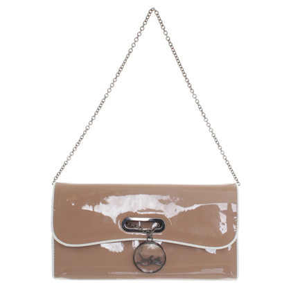 Christian Louboutin Patent leather clutch in nude