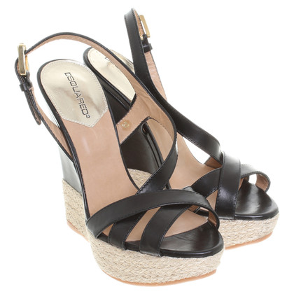Dsquared2 Leather sandals with plateau