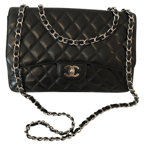 Chanel Classic Flap Bag Leather In Black Second Hand