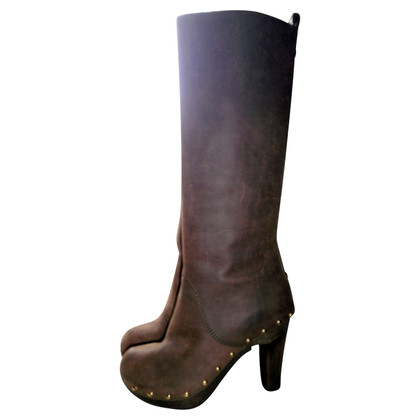 D&G Stivali in pelle marrone