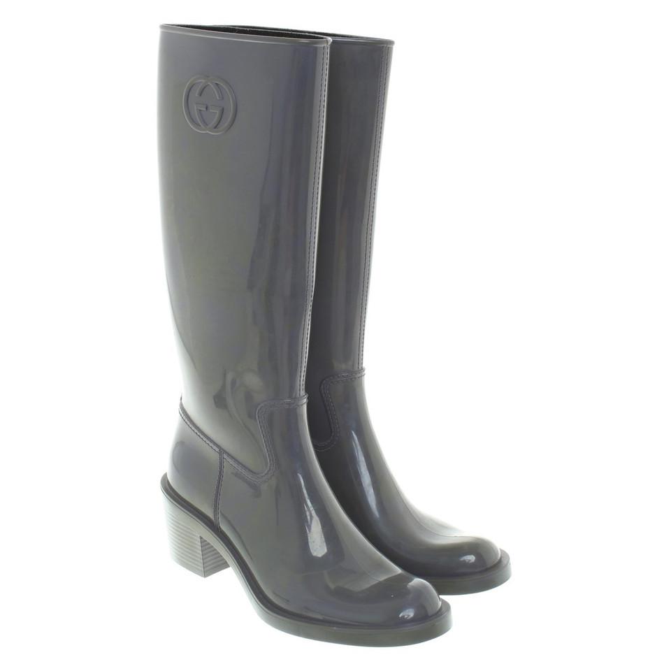 Rubberen Schoudertassen : Gucci rubberen laarzen in grijs koop tweedehands