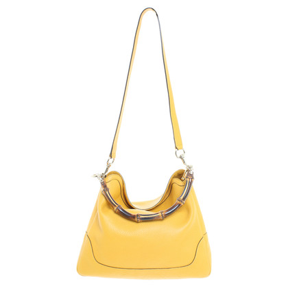 Gucci Leather shopper with bamboo handle