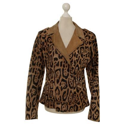 Jitrois Veste de cuir de vachette avec imprimé léopard
