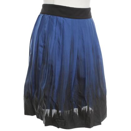 Reiss Zijden rok in blauw / zwart