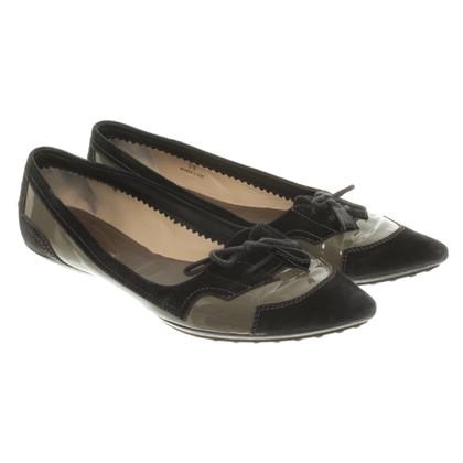 Tod's Ballerinas in olive/black