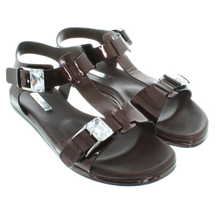 Casadei Patent leather sandals in Brown