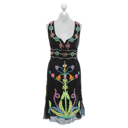 Maurizio Pecoraro  zijden jurk in zwart / Multicolor