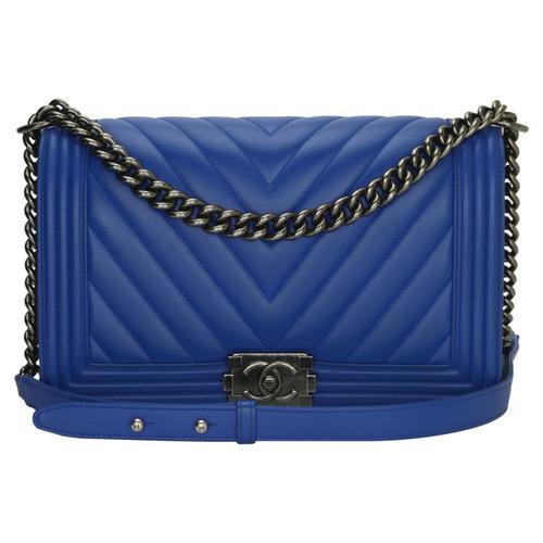 7e29d4e52432a Chanel Handtasche aus Leder in Blau - Second Hand Chanel Handtasche ...