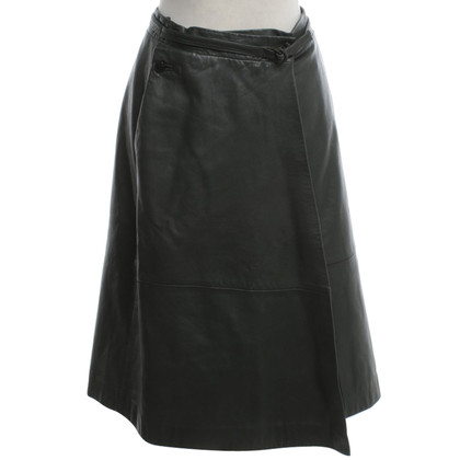 Gianni Versace Leather skirt in dark green