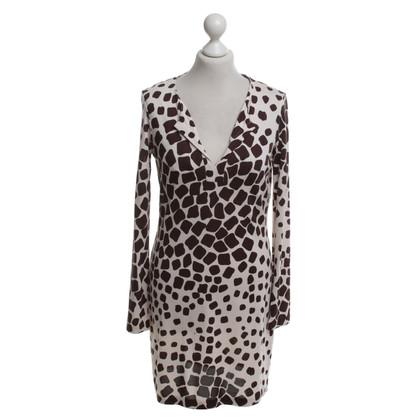 Diane von Furstenberg zijden jurk in Brown / White
