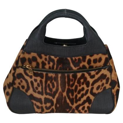 Yves Saint Laurent Handtasche mit Fellbesatz