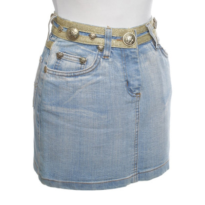 Versace Denim skirt with gold-colored details