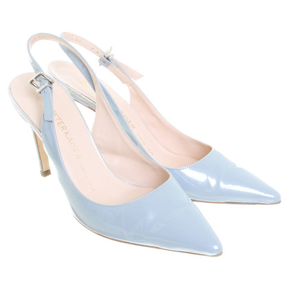 Other Designer Sling Pumps in light blue patent leather