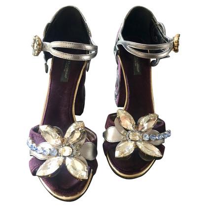 Dolce & Gabbana Velvet Baroque sandals
