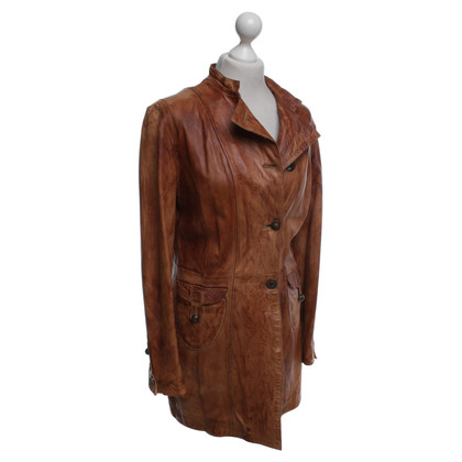 Oakwood cappotto di pelle in ocra