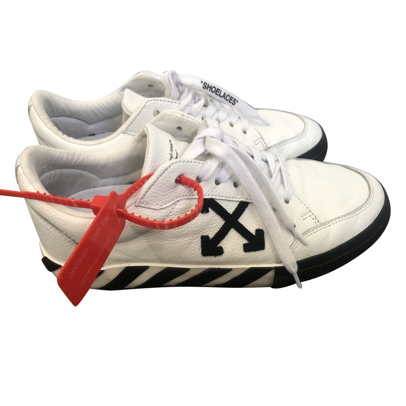 Off White Trainers Leather in White
