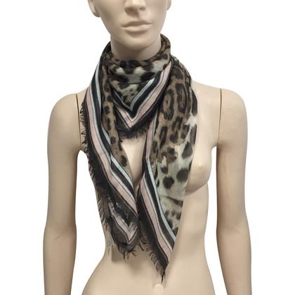 Roberto Cavalli Cachemire silk animalier foulard