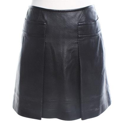 Tory Burch Lederen rok in zwart
