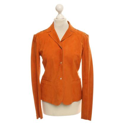 Miu Miu Leder-Blazer in Orange