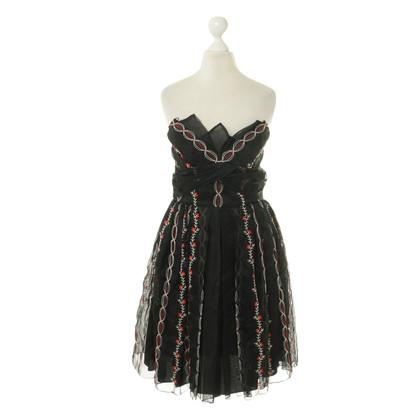 Anna Sui Corsage jurk in rood en zwart
