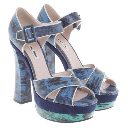 Miu Miu Plateau-Sandaletten in Blau