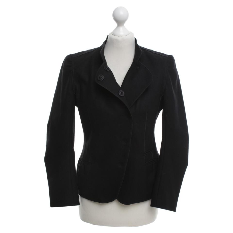 ren lezard schwarzer blazer mit stehkragen second hand ren lezard schwarzer blazer mit. Black Bedroom Furniture Sets. Home Design Ideas