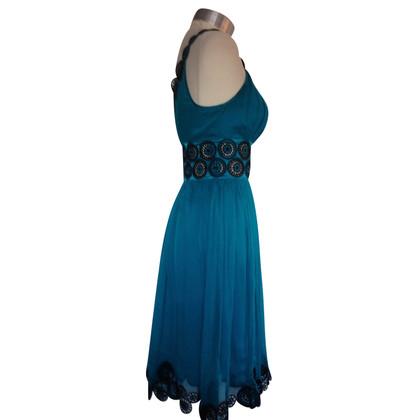 Catherine Malandrino Turkoois blauw gehaakt zijden jurk