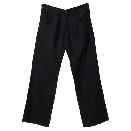 Gianni Versace Linen trousers in dark blue