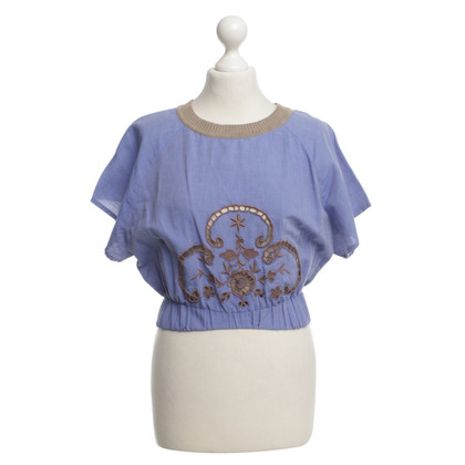 Just Cavalli Blouse in blue with hole pattern