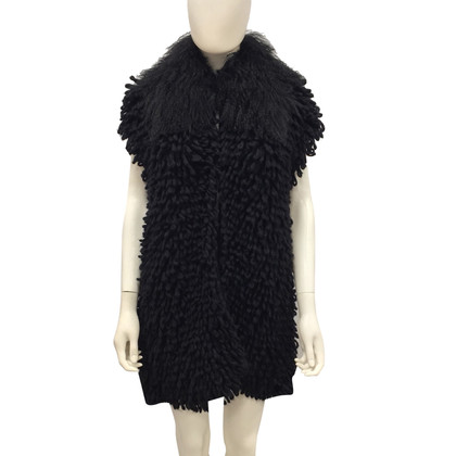 Fendi Voluminous vest with fur collar