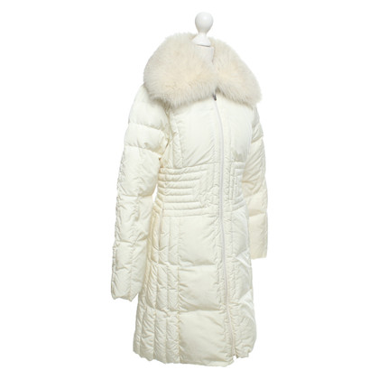 Moncler Quilted coat with fox fur trim