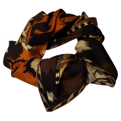 Etro silk carré scarf with Leopard Print