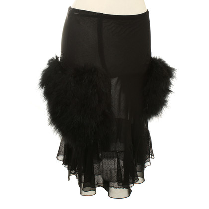 Sonia Rykiel Black skirt with feathers