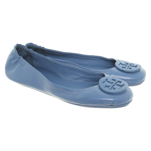 89cc14587 Tory Burch Slippers Ballerinas Leather in Blue - Second Hand Tory ...