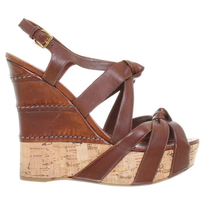 Miu Miu Wedges in Dunkelbraun