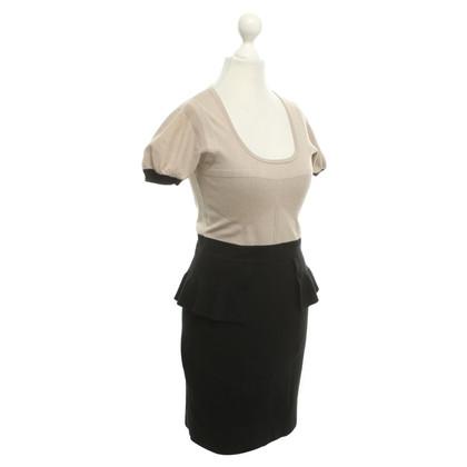 Karen Millen Gebreide jurk in beige / zwart