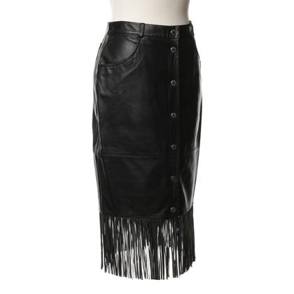 Iceberg Leather skirt with fringe