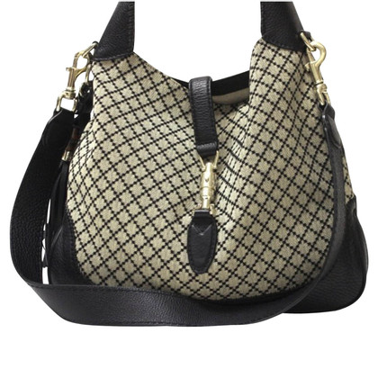 Gucci New Jackie Diamond And Leather Fabric