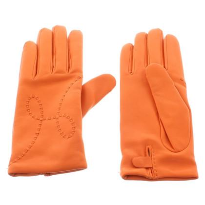 Hermès Lederen handschoenen / cashmere