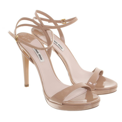Miu Miu Patent leather sandals in nude
