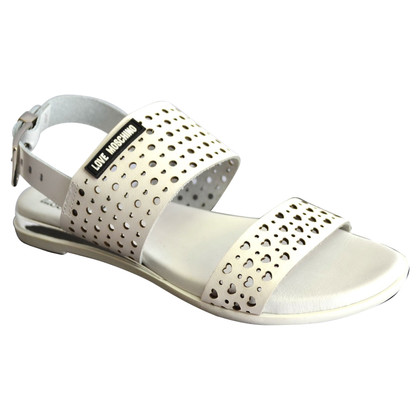 Moschino Love Leather sandals in white