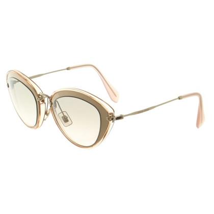 Miu Miu Goldfarbene Sonnenbrille mit Logoprägung
