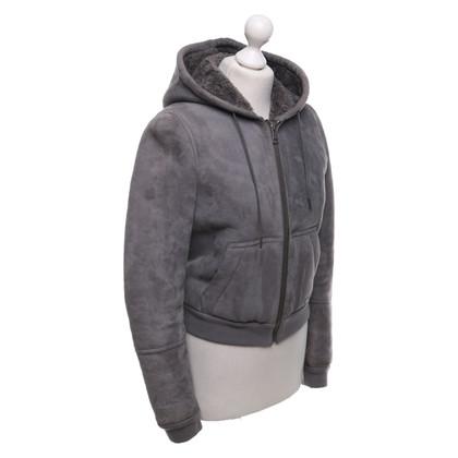 Burberry Giacca in pelle di agnello in grigio