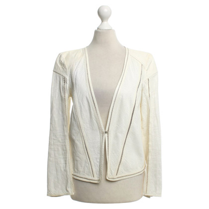 Roberto Cavalli Leather jacket with lace pattern