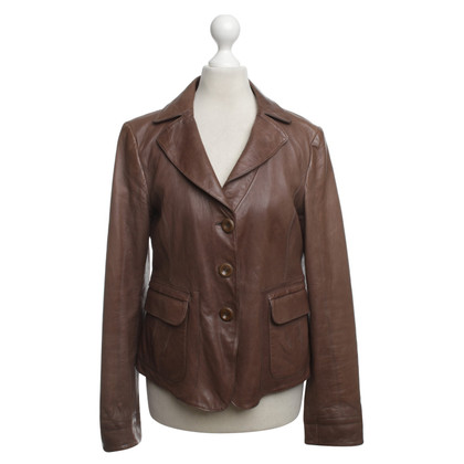Armani Collezioni Leather Jacket in Brown